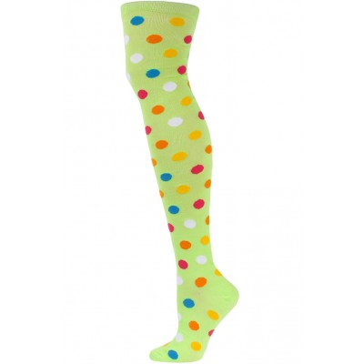 Yelete Polka Dot Over the Knee Socks - 1 Pair - Lime Green Multi