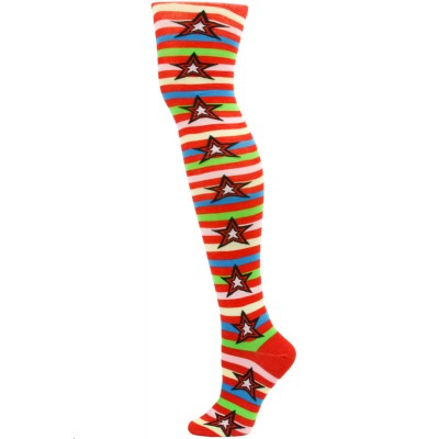 Yelete Stripes and Stars Over the Knee Socks - 1 Pair - Red/Yellow Multi