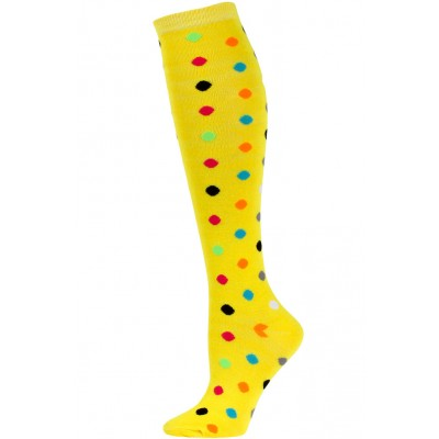 Julietta Women's Bright Polka Dot Knee Socks - 1 Pair - Yellow Multi