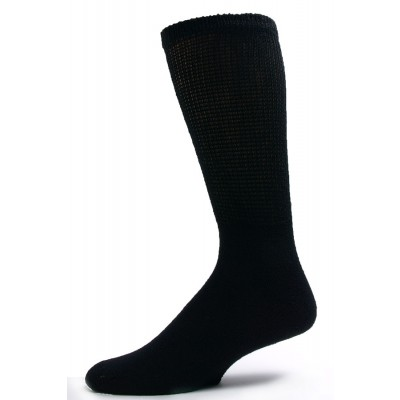 Sole Pleasers Men's Black Diabetic Crew Socks - 3 Pairs