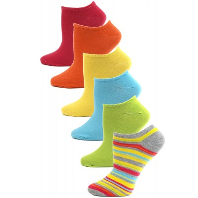iStyle by Chatties Women's Neon Stripe No Show Socks - 6 Pairs