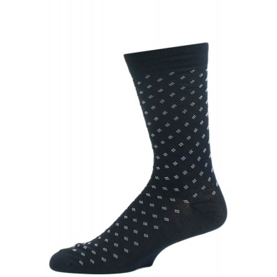 John Weitz Men's Patterned Dress Socks - 1 Pair Navy with Dotted Squares