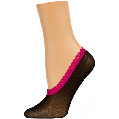 Dynamic Footies Women's Bright Mesh Liner Socks - 1 Pair - Black with Hot Pink