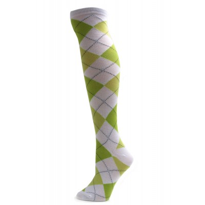 Julietta Bright White Argyle Knee Socks - 1 Pair - Lime Green