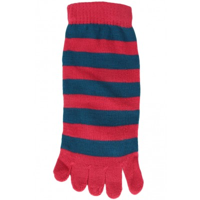Funny Feet Bright Stripe Toe Socks - 1 Pair - Hot Pink/Teal