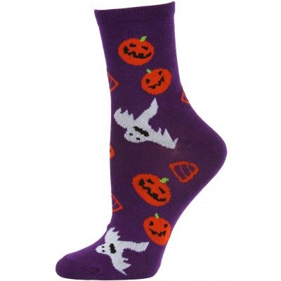 Happy Halloween Women's Crew Socks - 1 Pair - Purple - Pumkins and Ghosts