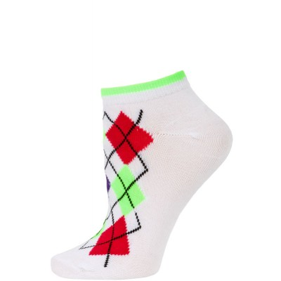 Chatties Women's Neon Argyle Low Cut Socks - 1 Pair - White/Green Argyle
