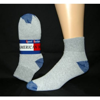 Women's Gray Quarter Socks with Blue Heel and Toe -  3 Pairs