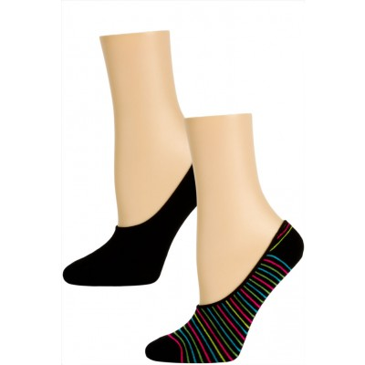 Steve Madden Funky Pattern and Solid Footie Liner Socks - 2 Pairs - Black Stripe and Black