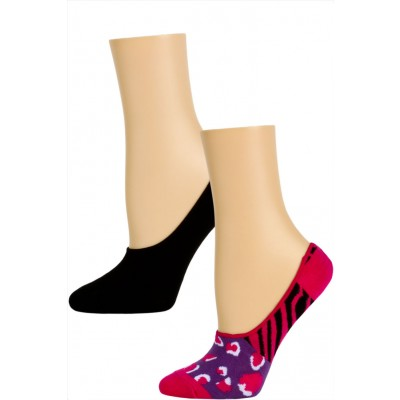 Steve Madden Funky Pattern and Solid Footie Liner Socks - 2 Pairs - Pink/Purple Animal Print and Black