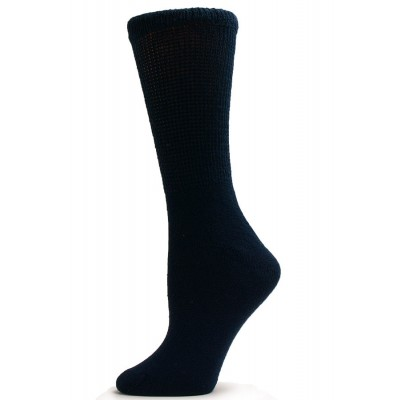 Sole Pleasers Women's Navy Diabetic Crew Socks - 3 Pairs