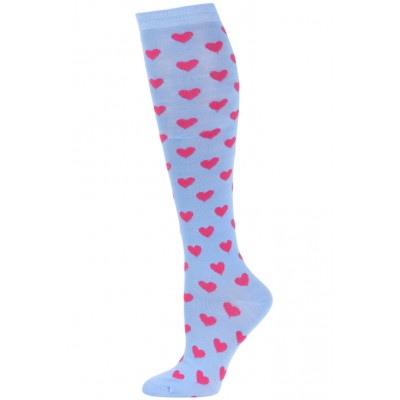 Julietta Women's Heart Print Knee Socks - 1 Pair - Blue/Pink