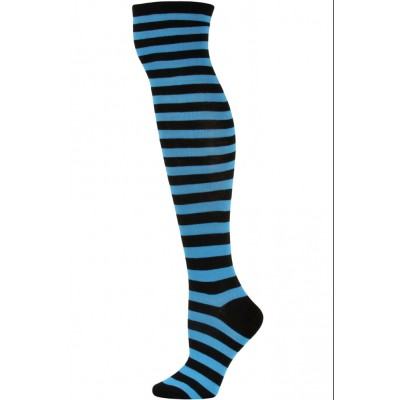 Julietta Women's Striped Over the Knee Socks - 1 Pair - Aqua Blue/Black