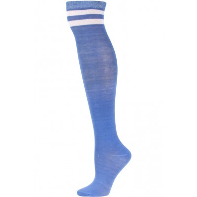 Julietta Retro Stripe Over the Knee Socks - 1 Pair - Perriwinkle Blue