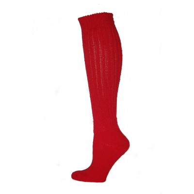 Extra Long, Extra Heavy Red Slouch Socks - 1 Pair