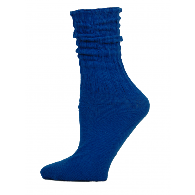 Royal Blue Cotton Slouch Socks - 1 Pair