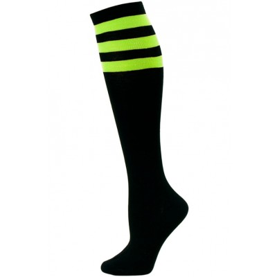 Julietta Women's Sport Stripe Black Knee Socks - 1 Pair - Black and Lime Green