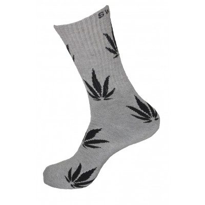 Unisex Crew Classic Weed Socks Grey with Black - 2 pairs