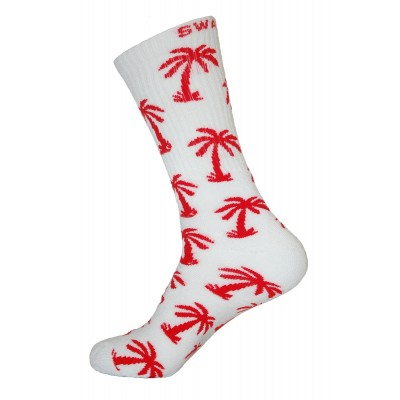 Unisex Crew Swag Palm Tree Socks White with Red - 2 pairs