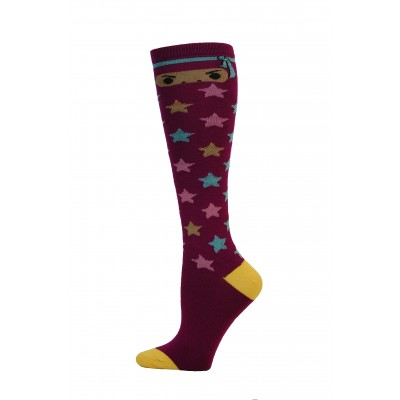 Yelete Ninja Star Knee Socks - 1 Pair - Dark Purple