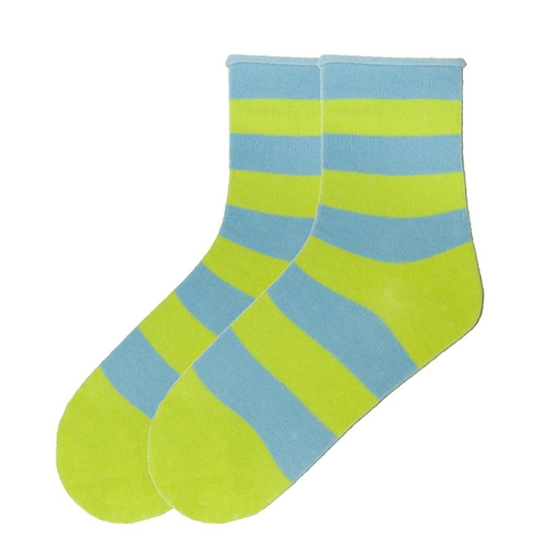 Green Rugby Socks: K. Bell Women's Rugby Striped Relaxed Top Crew Socks