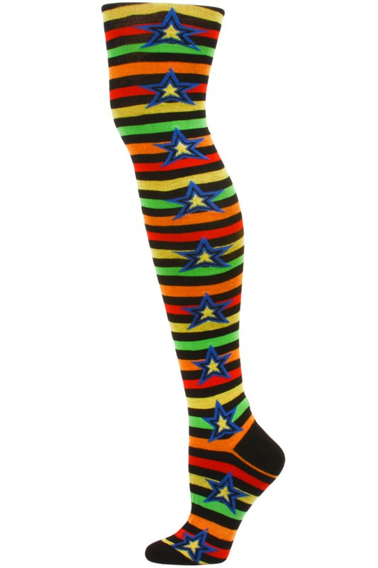 1 Pair Yelete Stripes and Stars Over the Knee Socks Red//Yellow Multi