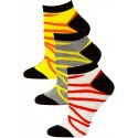Jaze Women's Zebra Stripe Low Cut Socks - 3 Pairs - Red/Grey/Yellow