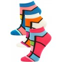 Jaze Women's Bright Geometric Low Cut Socks - 3 Pairs - Pink/White/Blue