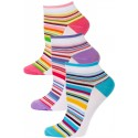 Yelete Pastel Stripe Low Cut Socks - 3 Pairs - Blue, Purple, Pink Multi