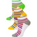 Yelete Pastel Stripe Low Cut Socks - 3 Pairs - Grey, Orange, Green Multi