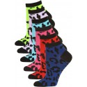 Mamia Neon Cheetah Women's Low Cut Socks - 6 Pairs - Neon Cheetah Multi
