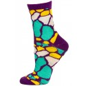 Wild Thing Women's Neon Crew Socks - 1 Pair - Purple  / Teal / White / Yellow Giraffe