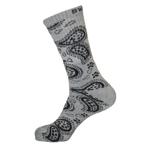 Unisex Crew Swag Leaf Socks Grey with Black - 2 pairs
