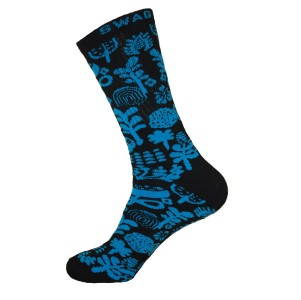 Unisex Crew Swag Forest Socks Black with Blue - 2 pairs