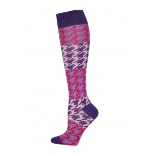 Yelete Hearts And Spots Knee Socks - 1 Pair - Blue and Red