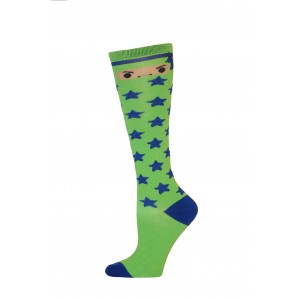 Yelete Ninja Star Knee Socks - 1 Pair - Green