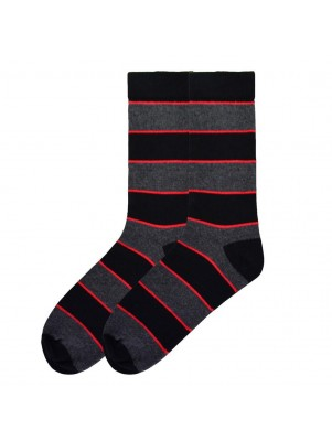 K. Bell Men's Recycled Cotton Stripe Crew Socks - Black
