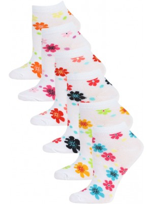 Mamia Flower Power Kids Low Cut Socks - 6 Pairs - Flower Multi