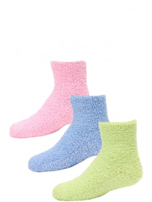Kid's Cozy Slipper Crew Socks - 3 Pairs - Lime Green, Blue, Pink