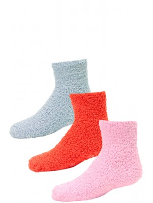 Kid's Cozy Slipper Crew Socks - 3 Pairs - Pink, Orange, Blue