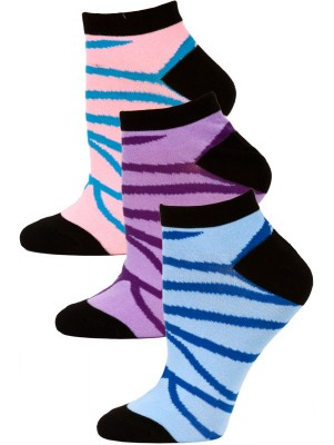 Jaze Women's Zebra Stripe Low Cut Socks - 3 Pairs - Blue/Purple/Pink