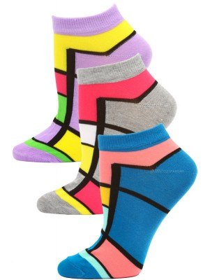Jaze Women's Bright Geometric Low Cut Socks - 3 Pairs - Purple/Gray/Blue
