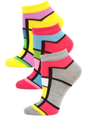 Jaze Women's Bright Geometric Low Cut Socks - 3 Pairs - Yellow/Pink/Grey