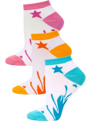 Jaze Shooting Stars Low Cut Socks - 3 Pairs - Blue/Orange/Pink