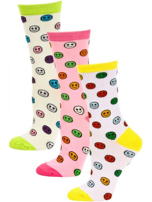 Yelete Smiles and Stripes Women's Crew Socks - 3 Pairs - Yellow / Pink / Green