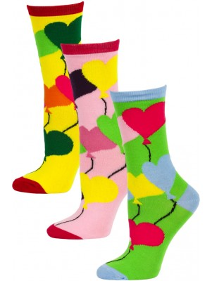 Yelete Women's Balloon Hearts Crew Socks - 3 Pairs - Green/Pink/Yellow Multi