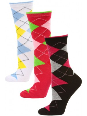 Yelete Women's Bright Argyle Crew Socks - 3 Pairs - Black/Pink/White