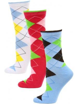 Yelete Women's Bright Argyle Crew Socks - 3 Pairs - White/Blue/Pink