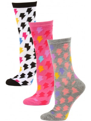 Yelete Women's Lightning Bolt Crew Socks - 3 Pairs - Grey/Pink/Black Multi