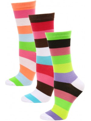 Yelete Women's Bright Stripe Crew Socks - 3 Pairs - Green/Coral Pink/Brown Multi